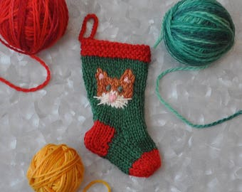 Orange Cat Hand-Knit Christmas Stocking Ornament