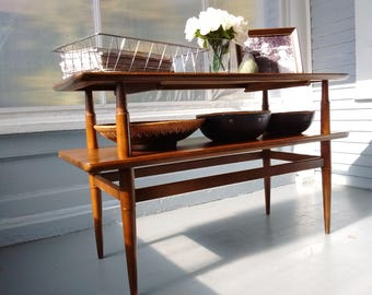 Vintage, Sofa Table, TV Console Table,  Two Tier, Danish Modern, Mid Century, Living room Decor, Living room Furniture, RhymeswithDaughter