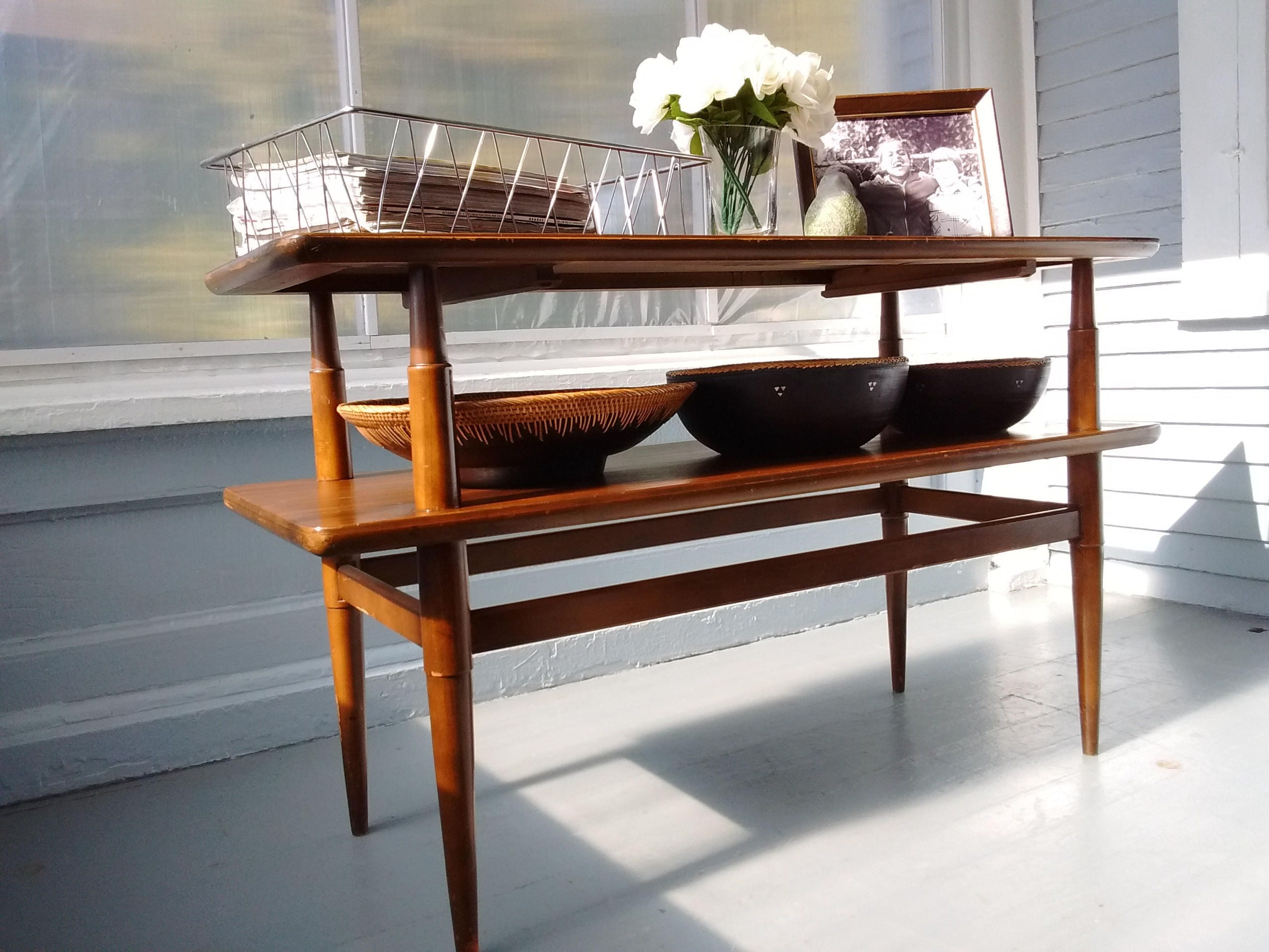 Vintage Sofa Table Tv Console Table Two Tier Danish