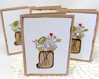 Small Note Card Set - Floral Note Cards - Mason Jar Flowers - Set of Four Note Cards - Water Color Cards - Rustic Note Cards - Brown Cards