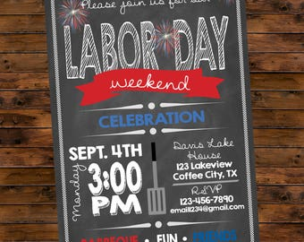 Printable Labor Day Party Customized Invitation BBQ Cookout Red White and Blue