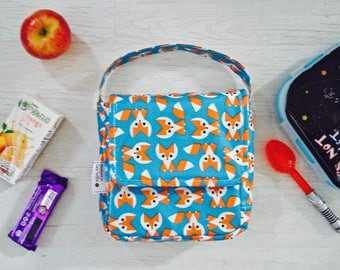 Foxes wipe clean girl's insulated lunch bag