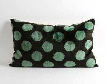 ikat pillow, velvet ikat pillow cover, green polka dot ikat pillow, 16x26 polka dot pillow, decorative pillow, accent pillow, ikat bedding