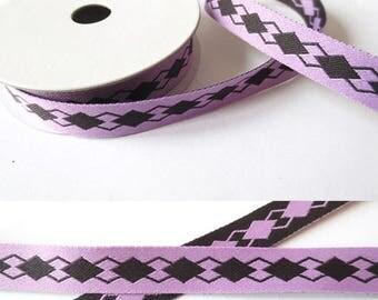 2 m x 10mm double-sided purple fancy Ribbon