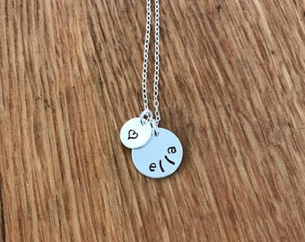 Sterling Silver Name and Heart Necklace, Personalized Name Necklace, Heart Necklace, Custom Name Necklace, Valentine's Day Gift