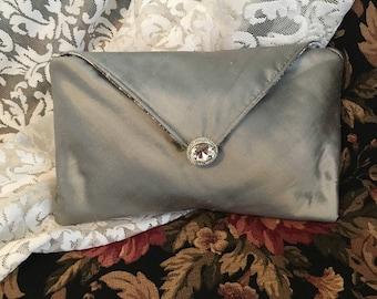 Silver Silk Envelope Evening Clutch Purse