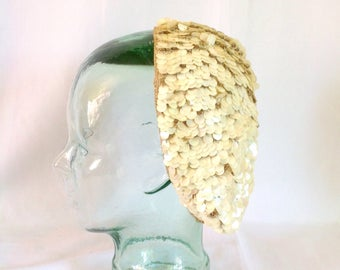 1940's Sequined Crocheted Rayon Beret Handmade in Italy