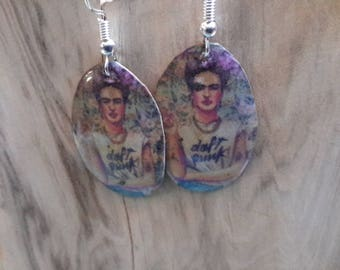 Frida Kahlo OOAK Copper Enamel Earrings