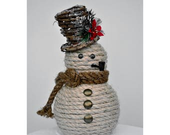 Rustic Rope Snowman, Nautical Christmas Decor, Natural Sisal Rope with Colored Scarf and Top Hat