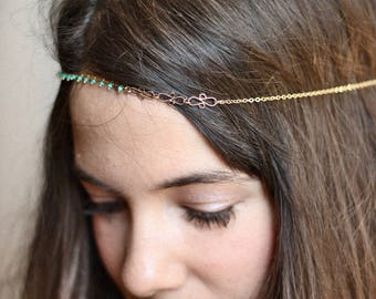 Arabesque gold chain headpiece