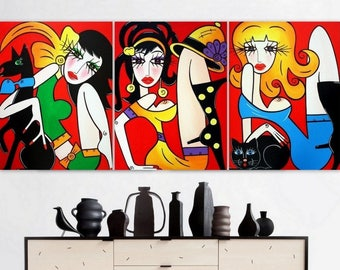 TRIPTYCH - Large Abstract Painting - Original Modern Pop Art - Abstract Modern Figure Art, Woman Painting
