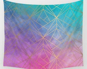 Watercolor Geometric Gold Pattern Wall Tapestry, Wall Hanging, Gold Wall Tapestry, Watercolor Tapestry, Bohemian Hanging, Boho Wall Tapestry