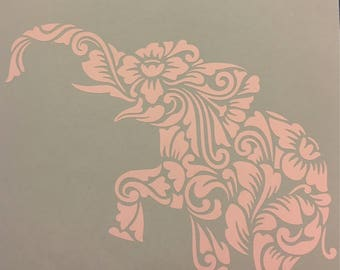 Elephant Decal, Paisley Mandala Vinyl Elephant window or hard surface Decal