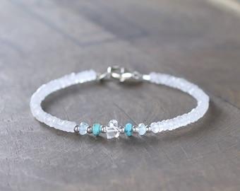 Turquoise, Herkimer Diamond Crystal & Moonstone Bracelet in Sterling Silver or Rose Gold Filled, White Gemstone Delicate Beaded Bracelet