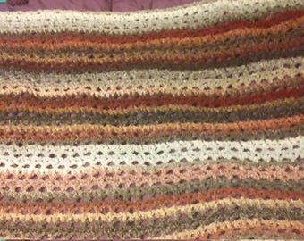 Purple and gray striped shawl