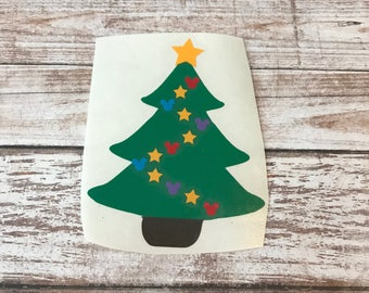 Christmas Tree Mickey Vinyl Decal Car Laptop Wine Glass Sticker