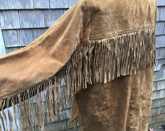 "Vintage ""Hunters Run"" Brown Leather Fringe Unlined Woman's Size Large Coat."