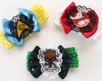 Nerdy Infant/ Toddler Sci-Fi Bows and Lace Headbands