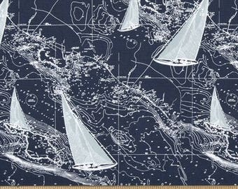 Sailboats Fabric by the BOLT nautical maps Premier Prints home decor upholstery curtains pillow runner drapes  30 yards