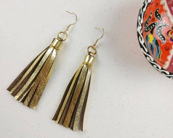 Tassel earrings, Metallic gold earrings, Leather statement earrings, Bohemian jewelry, Boho ethnic jewelry, Glam gift for her, Under 25