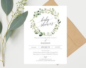 Greenery Baby Shower Invitation Template, Printable Baby Shower Invite,  Floral Baby Shower Invitation Template  Baby Shower Invite Templates