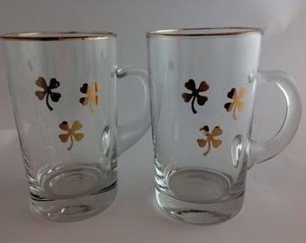 Vintage Sweetheart Irish Coffee Mugs Gold Trim and Shamrocks Irish Couple Gift After Dinner Drinks Irish Whiskey