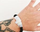 Black and Opalite stacking bracelet / Stacking Bracelet / Beaded bracelet / Whiskey and Bone / Black and White Bracelet
