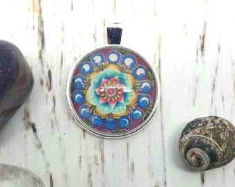 Moon phases mandala pendant, archival quality miniature print framed in a pendant, beautiful wearable art.