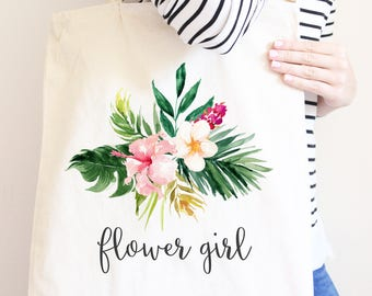 Flower Girl Gift, Personalized Canvas Tote Bag, Watercolor Flowers