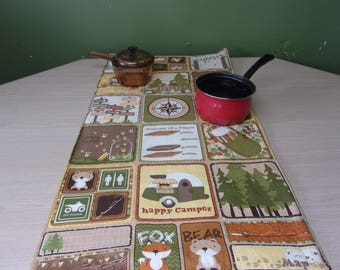 heat resistant fabric table runner in camping print, camping accessory, camping theme, home decor, cabin decor, fleece table runner