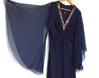 Vintage 70's navy floral embroidery sheer chiffon kimono butterfly sleeve dress
