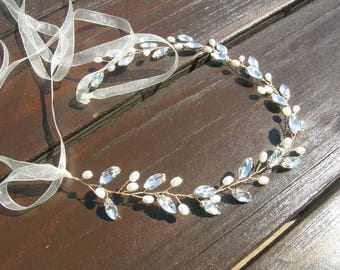 Bridal Hairband, Wedding Headband, Wedding Headpiece, Rhinestone Headband, Hair Accessories, Bridal Hairband, Headband, Clear, Gold Tone