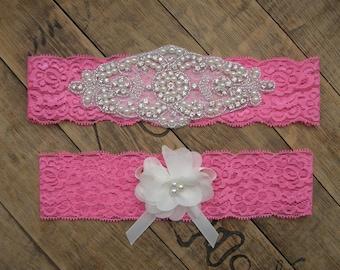 Wedding Garters, Hot Pink Garter Set, Bridal Garter Set,Crystal Rhinestone &Pearl,Vintage Inspired Garter,Ivory,Hot Pink,Vintage Lace Garter