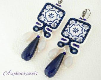 Soutache earring Blu maiolica