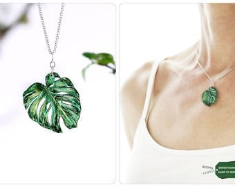 fashion necklace, philodendron, philodendron plant, leaf philodendron, monstera, necklace monstera, Monstera deliciosa, gift plant lovers