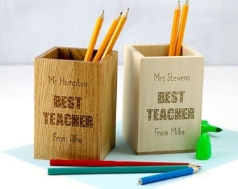 Pen Holder - Best Teacher Gift - Personalised Wooden Pen Pot - Teacher Gifts - School Supplies - Pencil Holder - Gift For Teacher - LC140