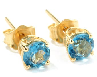 10K Yellow Gold 0.6ctw 4mm Round London Blue Topaz Stud Earrings