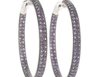 "Sterling Silver 6.51ctw African Amethyst Inside Out Hoop Earrings 2""L"