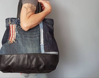 Distressed Denim and Leather Upcycled Tote of Joy! OOAK and Awesome.