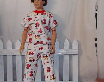 White Fireman Pajamas by JanCo -  1:6 Scale  Male Fashion Doll Clothes. Firetruck Pajamas Clothes only, Ken doll is not included.