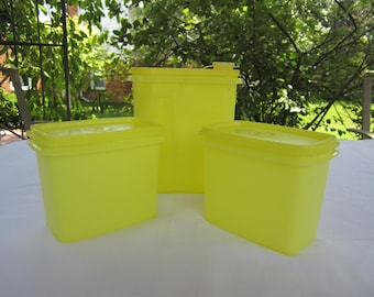 2 Vintage Tupperware Yellow Shelf Saver Storage Containers #1243 with lids, 1 Juice Container #792-9