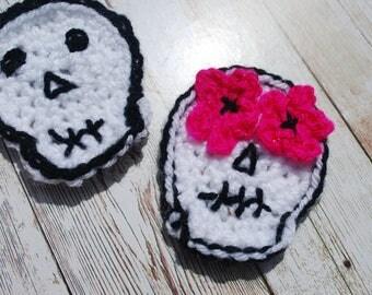 Sugar skull patch, girly skull applique, crochet halloween decoration, day of the dead, dios de los muertos, quirky decoration,
