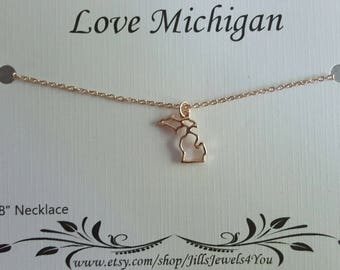 Michigan Charm Necklace - Rose Gold Michigan Necklace - Michigan Home Necklace - Love Michigan - Michigan Jewelry -  Michigan Pendant