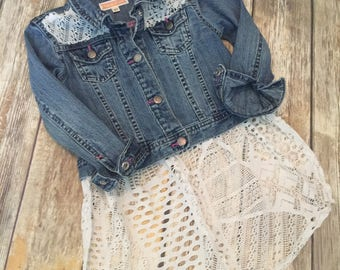 Jean Jacket with White Lace SIZE 5 GIRLS