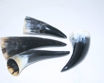 4 Cow horn tips ....  e4b83 ... Natural colored polished cow horns.,..