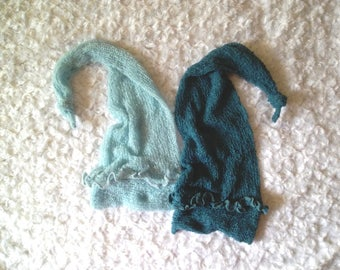 Long Knit Hat SkyBLUE Baby photography Elf Hat Photo Prop TopasBLUE stocking cap with ruffles