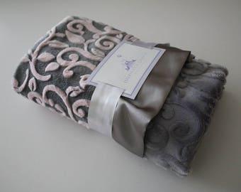 Mar Bella Minky Granada Cuddle Baby Pink and Gray Baby Blanket with Gray Satin Ruffle Trim - Baby Girl, Baby Shower, Nursey, Crib Bedding