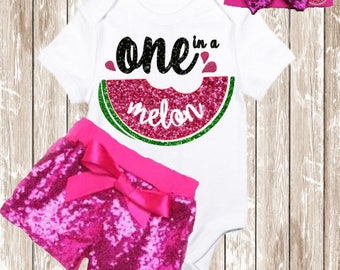 One in a Melon First Birthday Outfit Girl | Summer 1st Birthday Outfit | Watermelon Birthday outfit | Watermelon shorts baby girls | Sequin