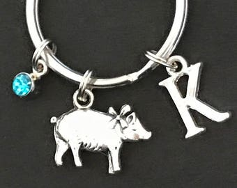 Pig Initial Keychain Pig Initial Gift