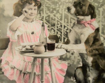 Antique dog postcard - Edwardian little girl, child lace dress, dog animal pet, lunch table garden  chair, french hand tinted, 1900
